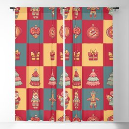 Weihnachten Tiles Ornaments, Santa, Angel And Trees  Blackout Curtain