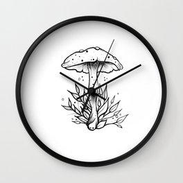 Mushroom - B&W Wall Clock