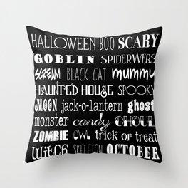 Halloween Typography Black Throw Pillow