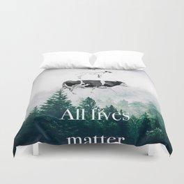 All lives matter go vegan Duvet Cover
