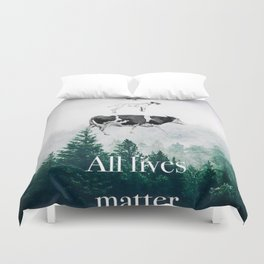 All lives matter go vegan Duvet Cover