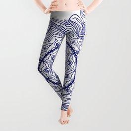 Blue Flower Mandala Leggings