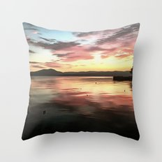 Sunset Reflected On Water Throw Pillow