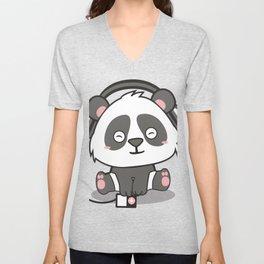 Chilling Panda Headphones Musik Cute Present Gift Unisex V-Neck