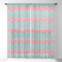 Flamingo Flamingle - coral pink on aqua Sheer Curtain