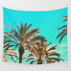 Tropical Palm Trees  - Vintage Turquoise Sky Wall Tapestry