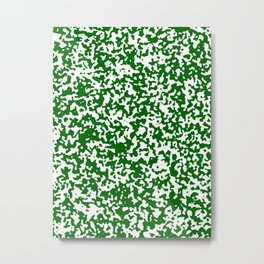 Small Spots - White and Dark Green Metal Print