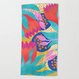 Bold Flower Pattern Yellow Background Beach Towel