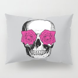 Skull and Roses | Grey and Pink Pillow Sham
