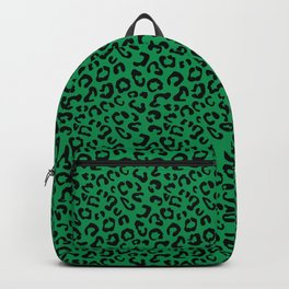 Leopard Print Black on Green Backpack