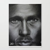 brad pitt Canvas Prints featuring Brad Pitt by Future Illustrations- Artwork by Julie C