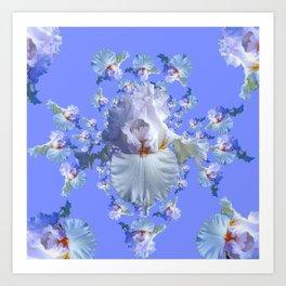 BLUE-WHITE IRIS ABSTRACT PATTERN Art Print