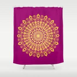 Gold yoga mandala Indian henna pattern Shower Curtain
