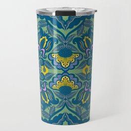 Blue Vines and Folk Art Flowers Pattern Travel Mug