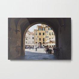 Tuscan Piazza Metal Print