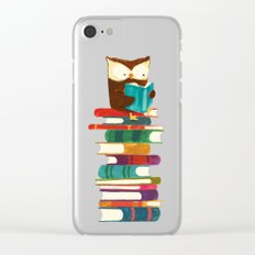 Owl Reading Rainbow Clear iPhone Case