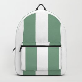 Sage Green & White Vertical Cabana Tent Stripes Backpack