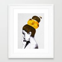 bee Framed Art Prints featuring The Bee Hive  by Jenny Liz Rome