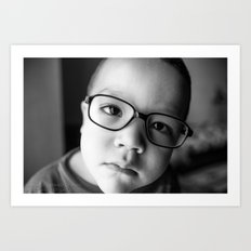 Cute kid with glasses  Art Print