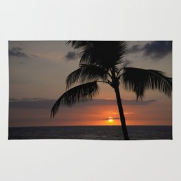 Hawaii sunset palm Rug