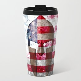 Molon Labe - Spartan Helmet Across An American Flag On Distressed Metal Sheet Travel Mug