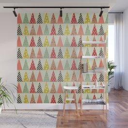 Whimsical Christmas Trees Wall Mural
