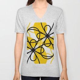 Yellow Black Floral Unisex V-Neck