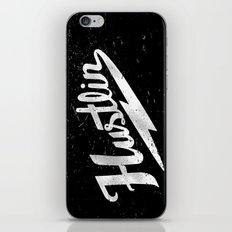 Hustlin - Black background with white image iPhone & iPod Skin