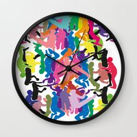 it crowd Wall Clocks featuring Crowd by Emmanuelle Ly