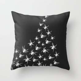 Clutter - White on Black Throw Pillow