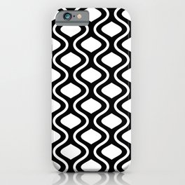 Moroccan Mid Century Black and White Lattice Pattern iPhone Case