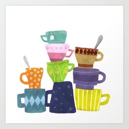 Coffee And Tea Cups And Mugs Stacked High Art Print