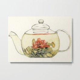 Blooming Flower Tea Watercolour Painting Metal Print