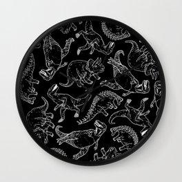 Dinosaures in B&W Wall Clock