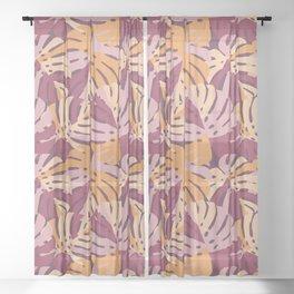 Color Block Monstera Purple Sheer Curtain
