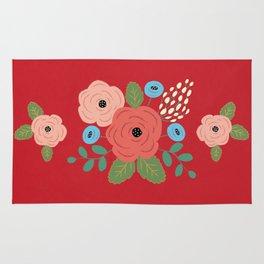 Flower Pattern, Pink Blue Flowers on Red, Vintage Floral Design Rug