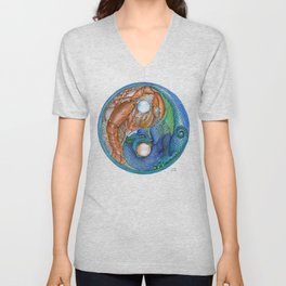 The Lobster and the Dragon, Chaos and Order Yin Yang Unisex V-Neck