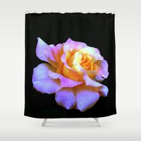 rose gold Shower Curtains featuring Pink And Gold Rose by minx267