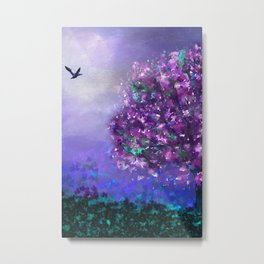 Autumn Tree in Blue and Purple Metal Print