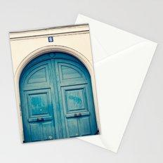 Paris door, blue navy Stationery Cards