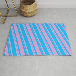 Plum & Deep Sky Blue Colored Lined Pattern Rug