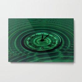 Hands of Time Green Rippling Water Art Motif Metal Print