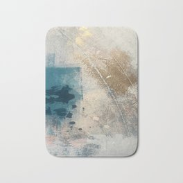 Embrace: a minimal, abstract mixed-media piece in blues and gold with a hint of pink Bath Mat