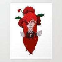 kuroshitsuji Art Prints featuring Grell Sutcliff // Pansy by Nadidrawings