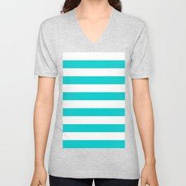 Horizontal Stripes - White and Cyan Unisex V-Neck