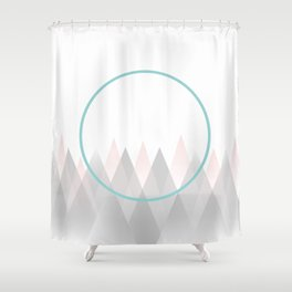 Minimal Abstract Graphic Mountains Circle Blue Pink Gray Shower Curtain