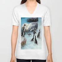 penguins V-neck T-shirts featuring Penguins. by paulette hurley