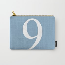 number nine sign on placid blue color background Carry-All Pouch