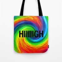2pac Tote Bags featuring High by Text Guy