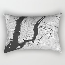 New York Map Gray Rectangular Pillow